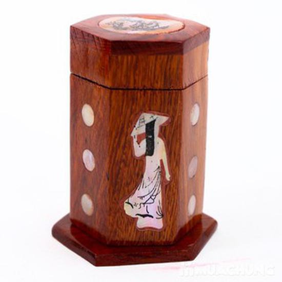 Ống đựng tăm khảm trai bằng gỗ tự nhiên đẹp
