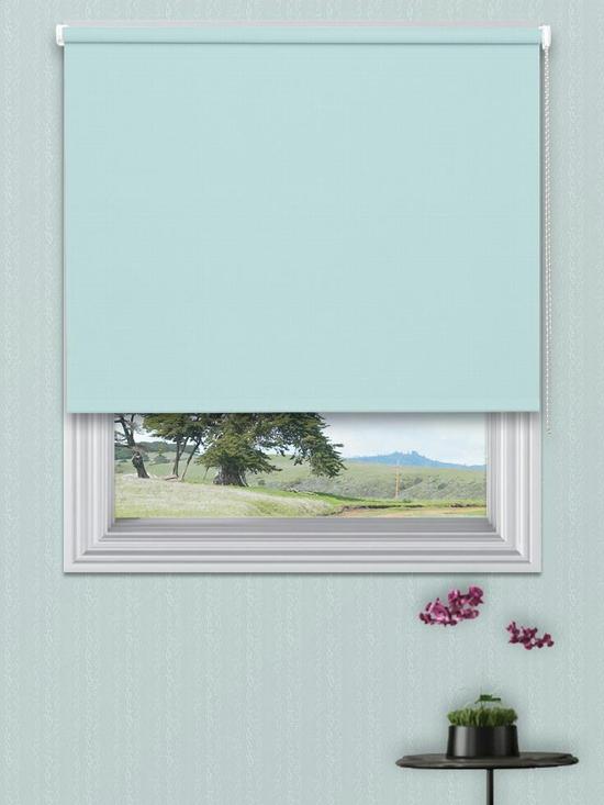 Rèm cuốn màu xanh da trời nhạt (3A-026) rộng 100cm cao 150cm