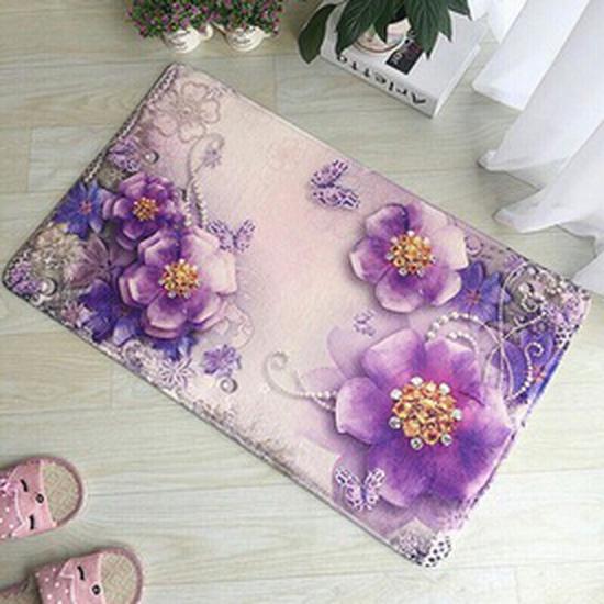 Combo 2 thảm lau chân hoa 3D