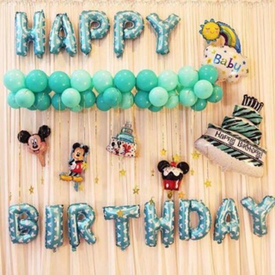Bộ bóng trang trí tiệc sinh nhật - xanh