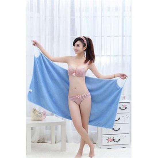 Khăn tắm đa năng, khăn tắm 2 trong 1 tiện dụng (Xanh dương)