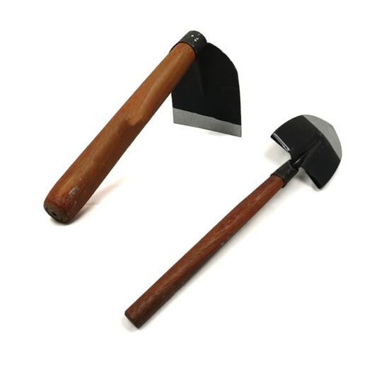 Bộ Cuốc và Xẻng cầm tay mini làm vườn tiện lợi cán gỗ