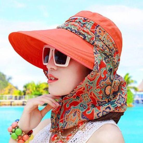 Mũ chống nắng TRƠN kèm khẩu trang HOA chống tia UV