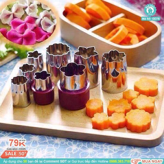 Dụng cụ cắt tỉa của quả (cà rốt, su hào, củ cải...). Có thể cắt cookie hình hoa, 8 đầu cắt khác nhau