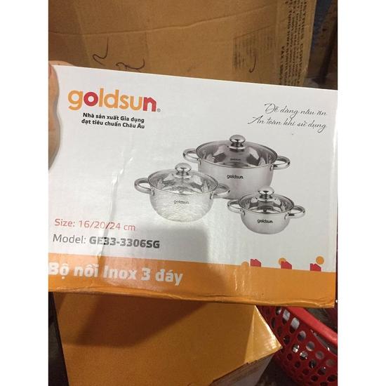 Bộ 3 nồi Inox 3 đáy từ Goldsun GE33-3306SG