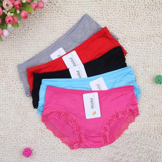 Bộ 5 quần lót nữ, quần lót ren Modal