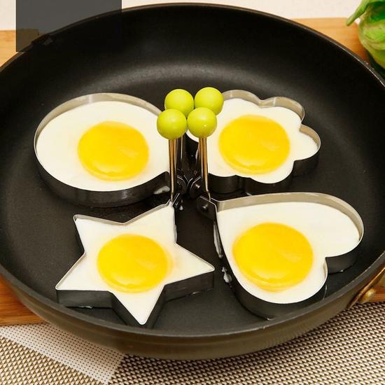 Bộ 4 khuôn inox chiên trứng chiên bánh (Bạc)