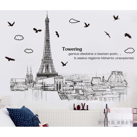 Decal trang trí dán tường hình tháp Eiffel AM9258
