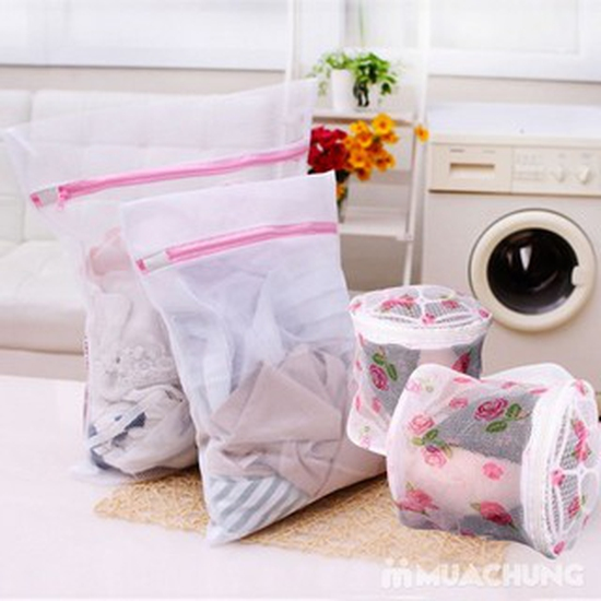 Set 2 túi lưới giặt đồ 50x60cm+ 1 túi tròn 15x16cm