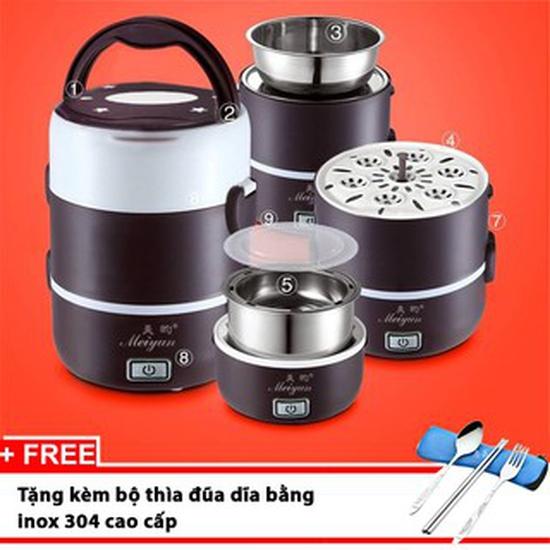 Hộp cơm điện hâm nóng 3 ngăn inox Playbear DFH2019
