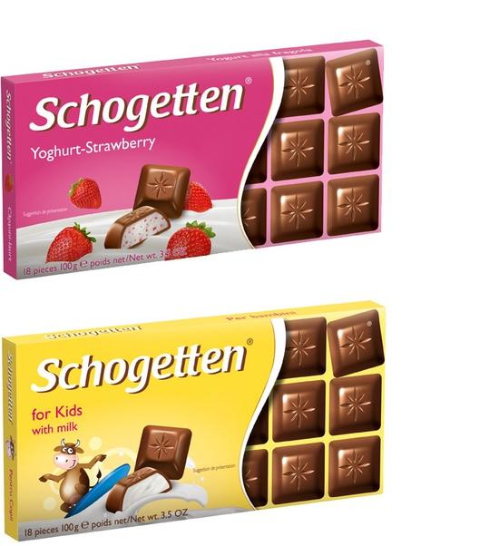 COMBO Sôcôla 13 vị Schogetten – Vị sữa chua dâu 100g VÀ Sôcôla 13 vị Schogetten – For Kids 100g