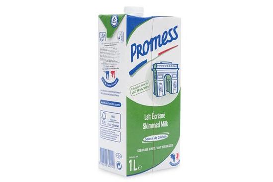 Sữa Promess Thùng 1Lx12Chai Tách Kem Hoàn Toàn Hộp Màu Xanh Lá Pháp