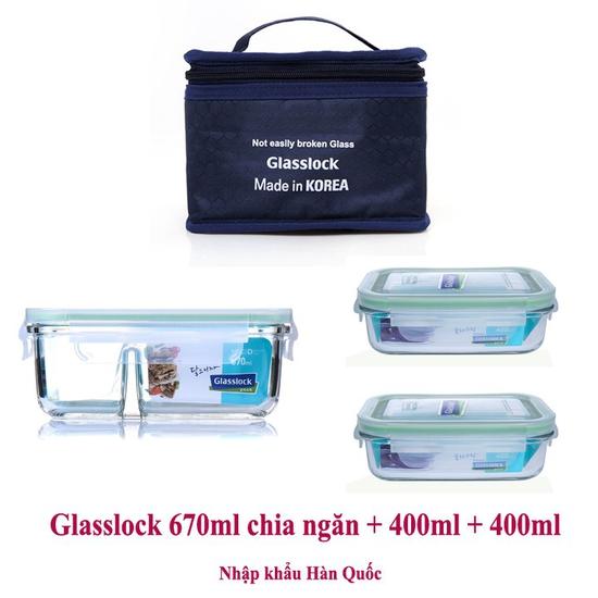 Bộ hộp cơm thủy tinh cường lực Glasslock 670ml chia ngăn + 2 hộp 400ml kèm túi giữ nhiệt