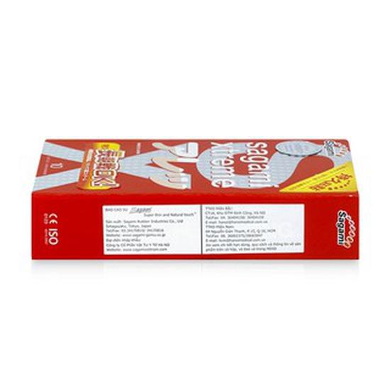 Bao cao su siêu mỏng có gai nổi và gân thắt Sagami Xtreme Feel Long hộp 10 cái