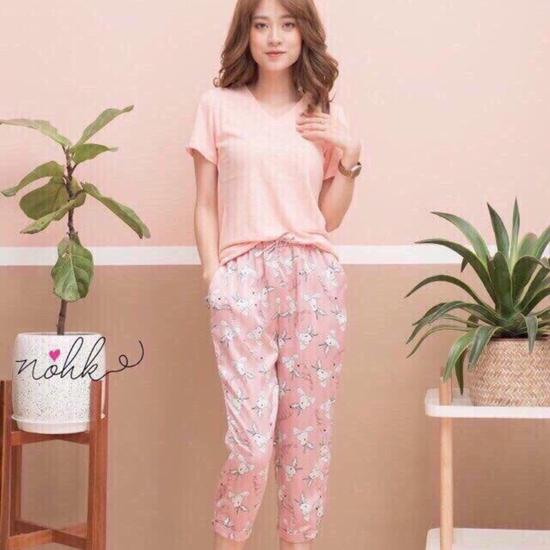Bộ Topshop áo cotton quần lụa3439