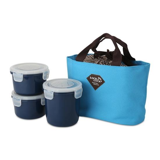 Bộ 3 hộp đựng cơm và túi giữ nhiệt Lock&Lock HAF100N3