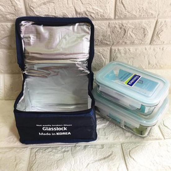 Bộ hộp cơm Glasslock 670ml (chia ngăn) + 400ml kèm túi giữ nhiệt