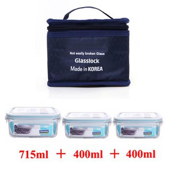Bộ hộp cơm Glasslock 2 hộp 400ml và 1 hộp 715ml kèm túi giữ nhiệt