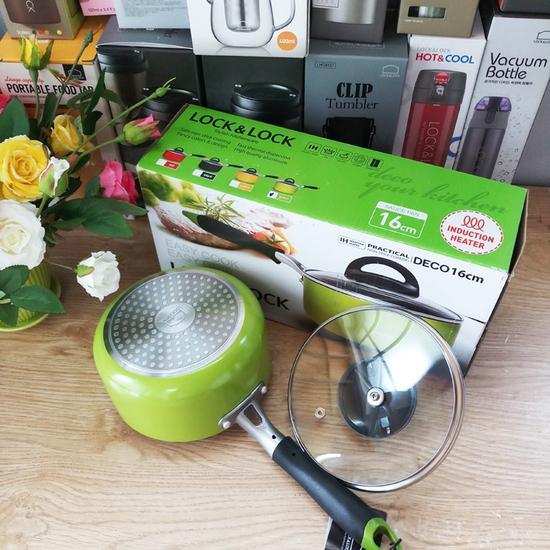 Nồi quấy bột chống dinh E-Cook Deco Lock&Lock 16cm LED2161Gr-IH dùng được Bếp Từ