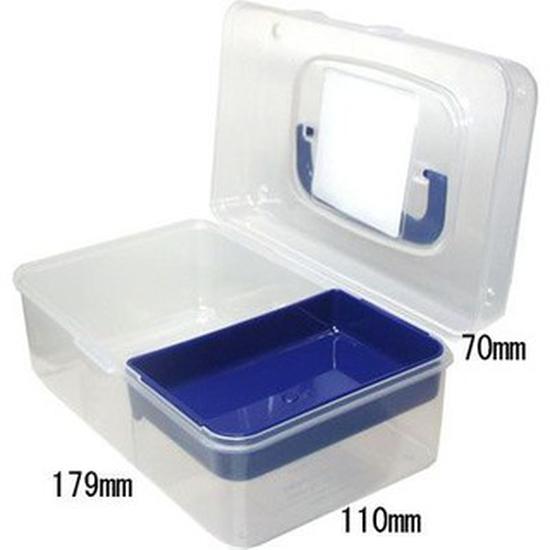 SANADA SEIKO- Hộp đựng dụng cụ nhựa trong 2 ngăn 800ml 18 x 11.5 x 7 cm