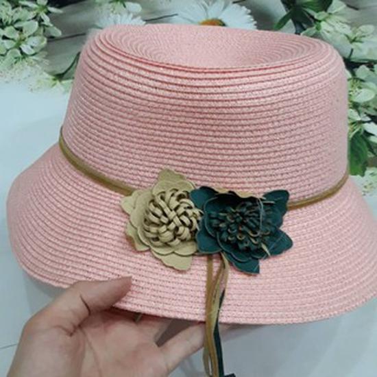 Mũ cói dây hoa