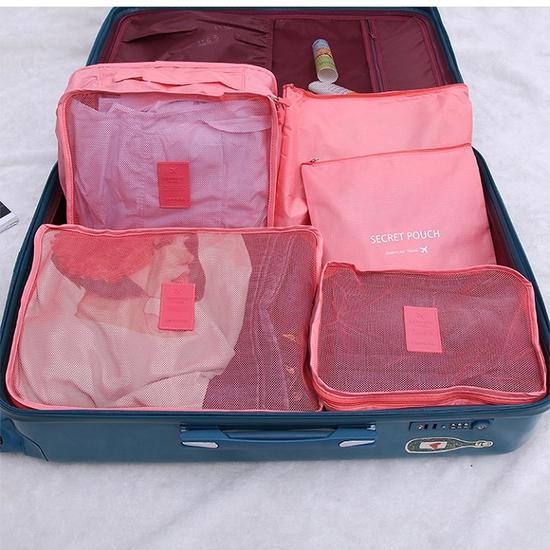 Bộ túi du lịch 6 túi secret pouch travel trơn