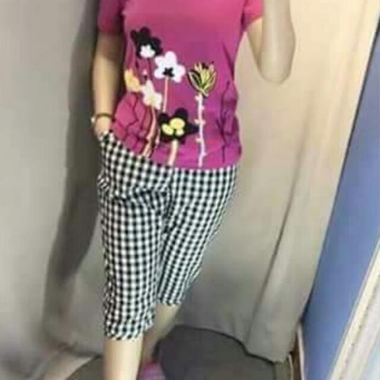 Bộ cotton mặc nhà hình hoa