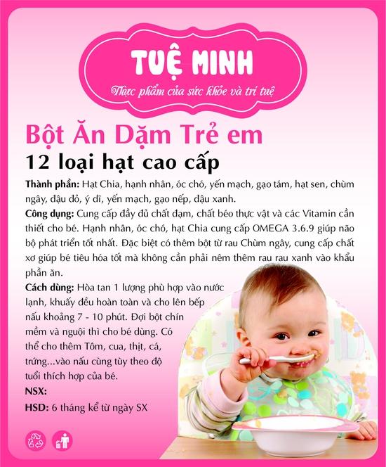 Bột ăn dặm trẻ em Hạt Chia, Hạnh Nhân, Óc Chó cao cấp Tuệ Minh