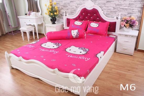 Set 5 món chăn hè ga chun kitty hồng m6x2m