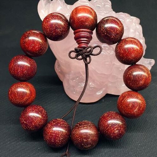 Vòng đeo tay gỗ tử đàn đỏ Ấn Độ 18mm