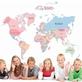 Decal dán tường bản đồ thế giới cho bé ABC1055